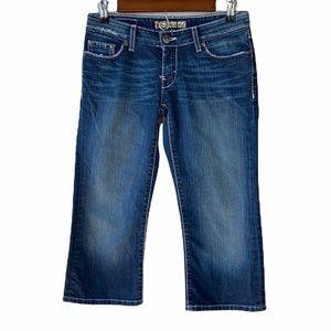 BKE Stella Stretch Dark Wash Semi Distressed Faded Whiskered Capri Jeans Size 28